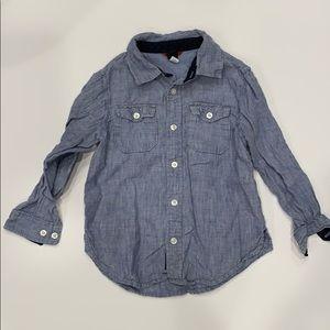 Boys Long Sleeve Button Down Chambray Linen Shirt
